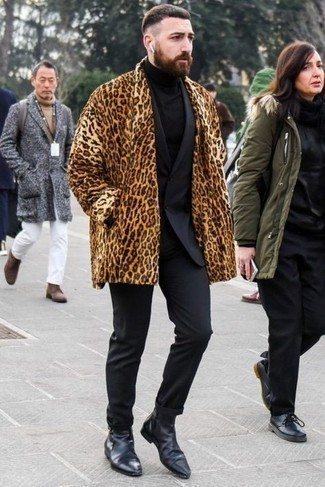 Fur Coat Outfits For Men: A fur coat looks so polished when combined with a black suit in a modern man's outfit. When not sure about what to wear in the shoe department, stick to a pair of black leather chelsea boots.