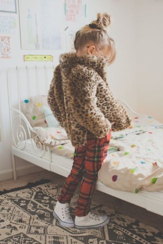 How to wear: brown leopard fur jacket, red plaid sweatpants, white sneakers