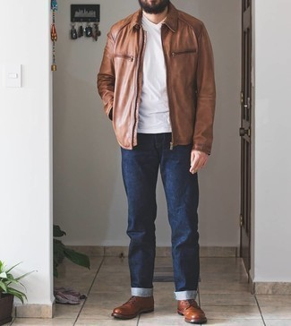 Brown Leather Casual Boots Outfits For Men: A brown harrington jacket and navy jeans will convey this relaxed and dapper vibe. You could follow the classic route with footwear by finishing off with brown leather casual boots.