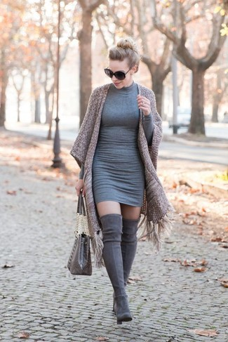 Grey Bodycon Dress Outfits: This combo of a grey bodycon dress and a brown kimono is incredibly stylish and yet it's relaxed enough and apt for anything. Rounding off with grey suede over the knee boots is an easy way to introduce a bit of flair to your outfit.