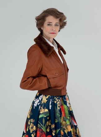 How to wear: brown leather bomber jacket, white dress shirt, navy floral full skirt