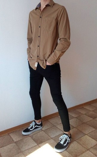 Men's Brown Long Sleeve Shirt, Black Skinny Jeans, Black and White Canvas Low Top Sneakers, White No Show Socks