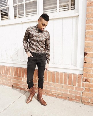 How To Wear Black Skinny Jeans With Brown Leather Boots For Men: Opt for a brown snake long sleeve shirt and black skinny jeans for both stylish and easy-to-achieve ensemble. Give an elegant twist to an otherwise mostly casual outfit with brown leather boots.