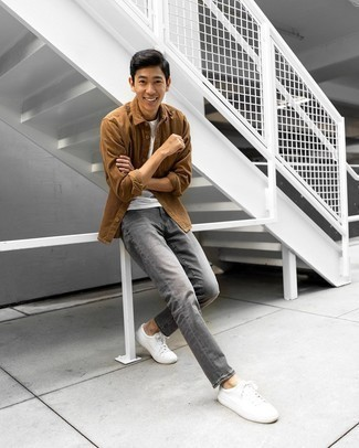 Grey Jeans Outfits For Men: For a laid-back look with a modern take, wear a brown corduroy long sleeve shirt with grey jeans. Complement this outfit with white canvas low top sneakers and you're all done and looking amazing.
