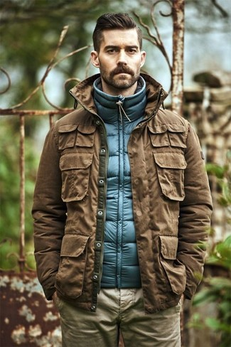 Men's Brown Military Jacket, Blue Quilted Gilet, Khaki Chinos