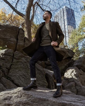 Men's Looks & Outfits: What To Wear In 2020: When the situation calls for an effortlessly stylish look, you can rock a brown overcoat and navy jeans. Black leather casual boots are a stylish addition for your getup.