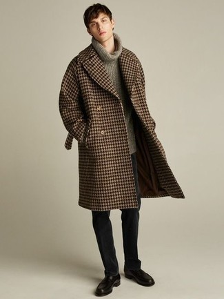 Brown Houndstooth Overcoat Outfits: This combo of a brown houndstooth overcoat and black chinos might pack a punch, but it's also super easy to wear. And if you want to instantly amp up your ensemble with one single piece, why not complete your outfit with a pair of black leather loafers?
