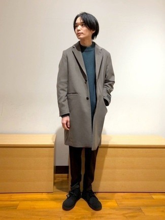 Brown Overcoat Outfits: Team a brown overcoat with dark brown chinos for effortless elegance with a rugged spin. To infuse an easy-going touch into this getup, go for a pair of black suede desert boots.