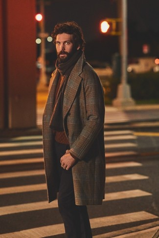 How to Wear a Brown Plaid Overcoat: For an ensemble that's casually sleek and wow-worthy, rock a brown plaid overcoat with black chinos.
