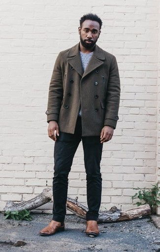 Brown Pea Coat Outfits: Infuse a sophisticated touch into your day-to-day fashion mix with a brown pea coat and navy chinos. Brown leather chelsea boots bring an elegant aesthetic to the getup.