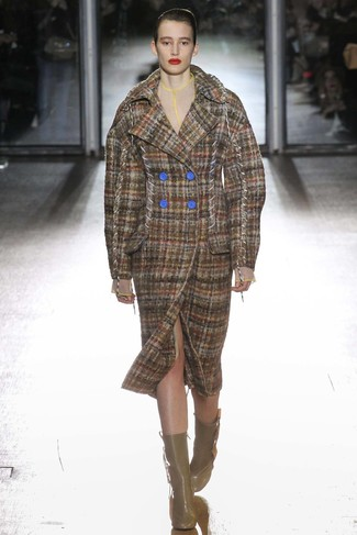 How to wear: brown plaid coat, brown leather ankle boots