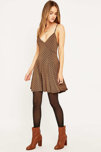 How to wear: brown print skater dress, tobacco leather ankle boots, black tights
