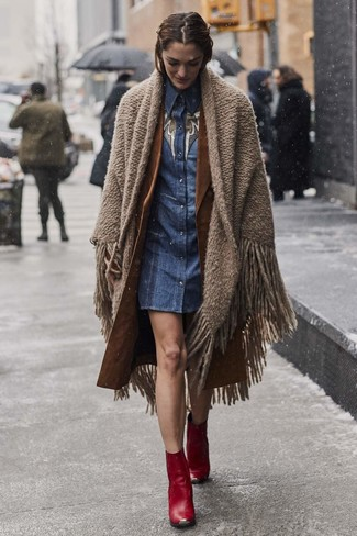 How to wear: brown shawl, brown trenchcoat, blue denim shirtdress, red leather ankle boots