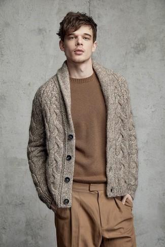 How to wear: brown shawl cardigan, brown crew-neck sweater, khaki chinos
