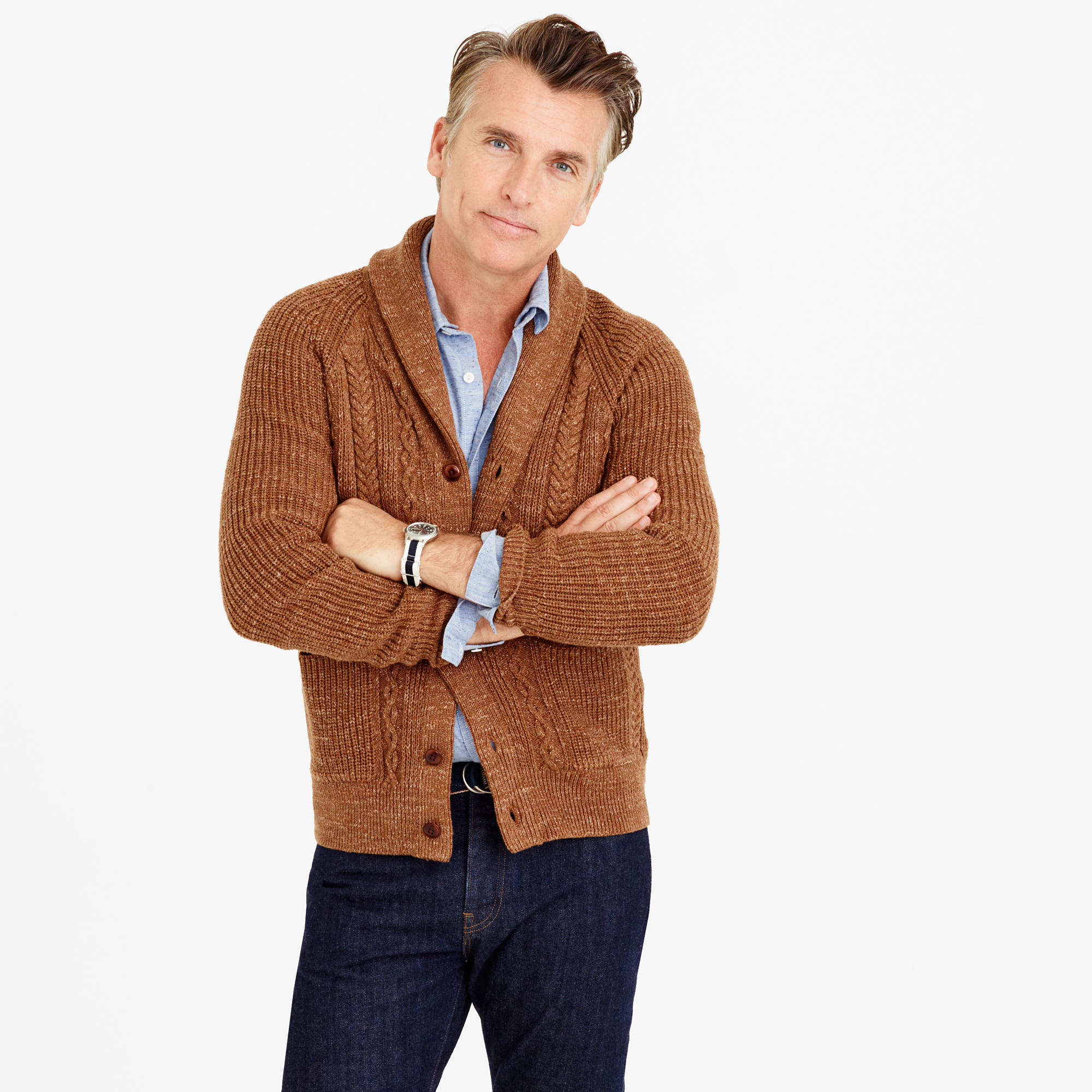 Men's Brown Shawl Cardigan, Light Blue Long Sleeve Shirt, Navy ...