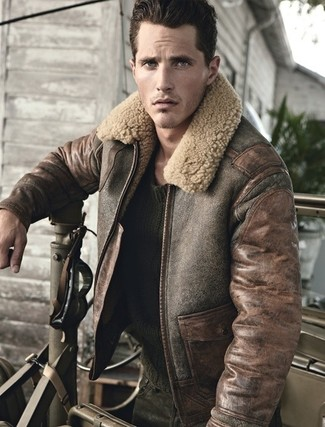 Brown Shearling Jacket | Men's Fashion