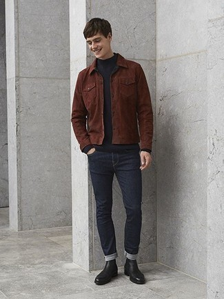 Navy Skinny Jeans Outfits For Men: A brown suede shirt jacket and navy skinny jeans are a savvy combination worth integrating into your current routine. To bring out an elegant side of you, introduce black leather chelsea boots to this getup.
