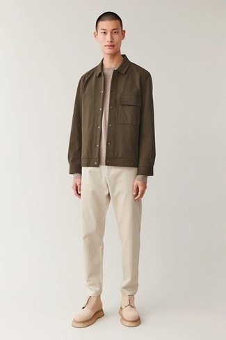 Brown Shirt Jacket Outfits For Men: Pairing a brown shirt jacket with beige chinos is a wonderful idea for an effortlessly neat look. You could perhaps get a little creative with shoes and dress up your ensemble with beige suede chelsea boots.