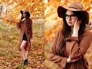 Women's Brown Shirtdress, Black Mini Skirt, Black Leather Chelsea Boots, Khaki Wool Hat