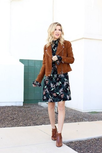 How to wear: brown suede biker jacket, black floral chiffon shift dress, brown leather ankle boots