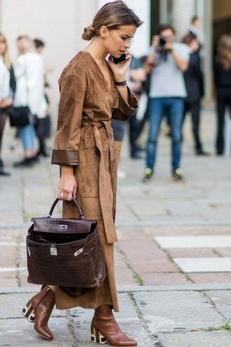 Women's Brown Suede Trenchcoat, Brown Leather Ankle Boots, Dark Brown Leather Satchel Bag