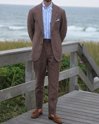 Brown Suit Outfits: Consider pairing a brown suit with a light blue vertical striped dress shirt and you're bound to make an entrance. Brown suede tassel loafers integrate smoothly within a multitude of looks.