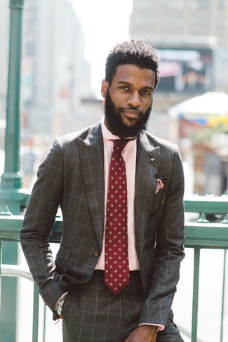 How to Wear a Brown Check Suit: Consider teaming a brown check suit with a pink dress shirt for a proper elegant getup.