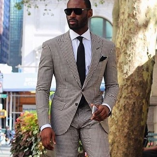 How to Wear a Brown Check Suit: For sharp style with a modern spin, consider wearing a brown check suit and a white dress shirt.