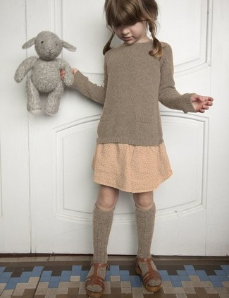 How to wear: brown sweater, beige polka dot skirt, brown sandals, brown socks