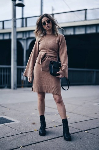 10e35bd04ef How to Wear a Dark Brown Sweater Dress (13 looks   outfits ...
