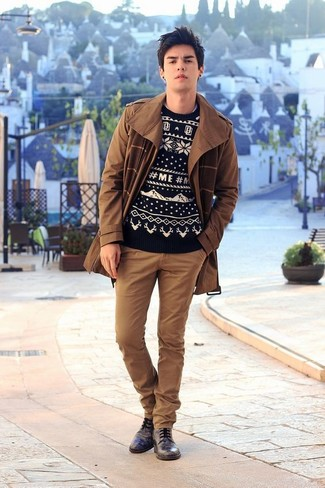 How to wear: brown trenchcoat, black and white fair isle crew-neck sweater, brown chinos, black leather derby shoes