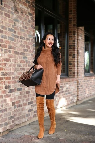 How to wear: brown knit wool tunic, black leggings, tobacco suede over the knee boots, black and tan leopard leather tote bag