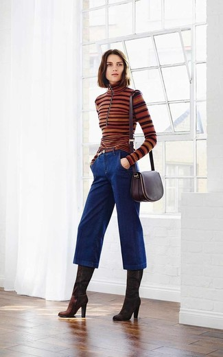 How to Wear Navy Denim Culottes: This casual combination of a brown horizontal striped turtleneck and navy denim culottes is a tested option when you need to look great in a flash. A trendy pair of dark brown suede knee high boots is an effortless way to add an extra touch of chic to your look.