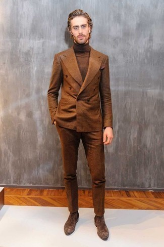 How to Wear a Dark Brown Turtleneck For Men: As you can see here, looking dapper doesn't require that much effort. Consider teaming a dark brown turtleneck with a brown plaid wool suit and you'll look awesome. On the shoe front, this ensemble is rounded off really well with dark brown suede chelsea boots.