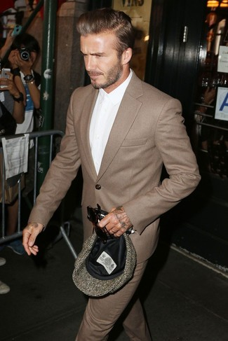 David Beckham wearing Brown Wool Suit, White Dress Shirt, Brown Herringbone Flat Cap