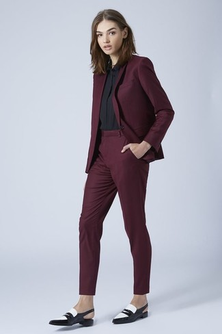 a420fbcf1ca0c How to wear: burgundy blazer, black dress shirt, burgundy dress pants, black