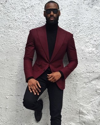 Men's Burgundy Blazer, Black Turtleneck, Black Chinos, Black Low ...