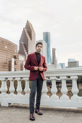 How to Wear a Black Turtleneck For Men: This combo of a black turtleneck and charcoal dress pants is perfect when you need to look really elegant. Clueless about how to complement this outfit? Round off with a pair of burgundy leather oxford shoes to kick it up a notch.