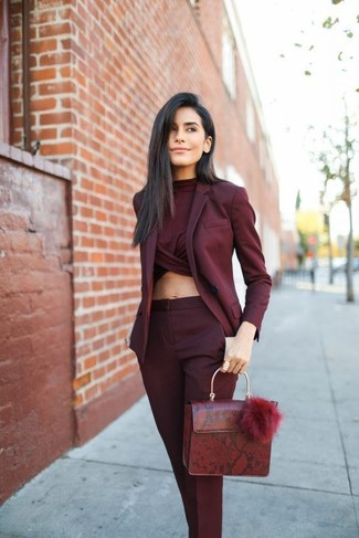 b34039e066cd4 How to wear: burgundy blazer, burgundy cropped top, burgundy dress pants,  burgundy