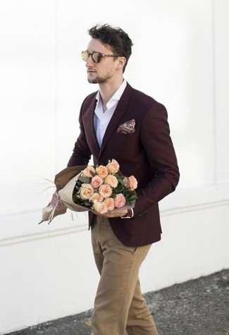 How to wear: burgundy blazer, white long sleeve shirt, khaki chinos, burgundy paisley pocket square