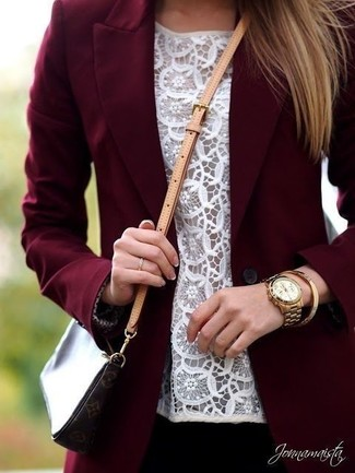 Burgundy Blazer Outfits For Women: This combo of a burgundy blazer and a white lace sleeveless top is extremely easy to achieve and so comfortable to rock as well!