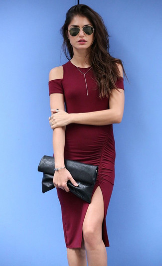 Opt for an oxblood bodycon dress for a refined yet off-duty ensemble.