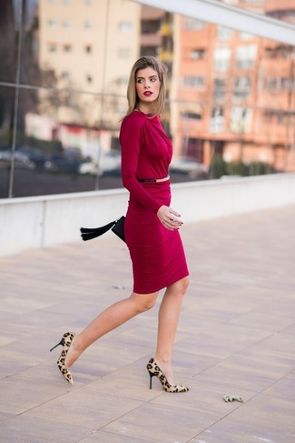Make an oxblood bodycon dress your outfit choice for a standout ensemble. Why not introduce tan animal suede pumps to the mix for an added touch of style?