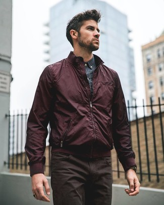 How to wear: burgundy bomber jacket, charcoal gingham dress shirt, dark brown jeans