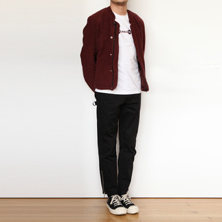 Burgundy Bomber Jacket Outfits For Men: For a relaxed casual outfit, pair a burgundy bomber jacket with black chinos — these two pieces work nicely together. Don't know how to finish? Complement your outfit with black and white leather high top sneakers for a more casual take.