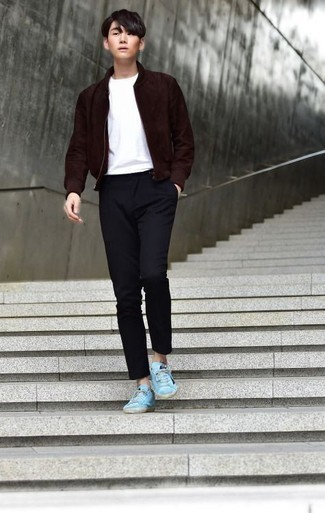 Navy Chinos Outfits: This pairing of a burgundy suede bomber jacket and navy chinos is proof that a safe off-duty getup can still look really dapper. Rounding off with a pair of aquamarine canvas low top sneakers is the most effective way to infuse a touch of stylish effortlessness into your look.