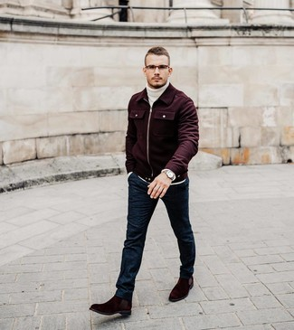 How to wear: burgundy wool bomber jacket, white knit wool turtleneck, navy wool dress pants, burgundy suede chelsea boots