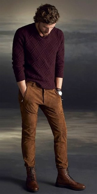 How to Wear Brown Leather Brogue Boots: This laid-back pairing of a burgundy cable sweater and brown suede jeans is a foolproof option when you need to look nice but have no extra time to dress up. Feeling transgressive today? Break up your outfit by slipping into brown leather brogue boots.