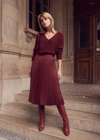 How to wear: burgundy cardigan, burgundy pleated midi skirt, burgundy leather knee high boots, burgundy leather crossbody bag