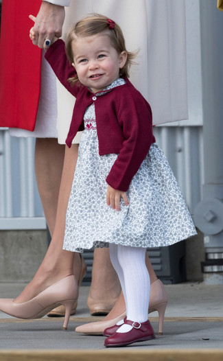 Girls' Burgundy Cardigan, White Floral Dress, Burgundy Ballet Flats, White Tights